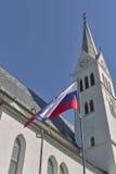 Νεω γοτθική εκκλησία Αγίου Martin στην αιμορραγημένη λίμνη, Σλοβενία Στοκ Φωτογραφία