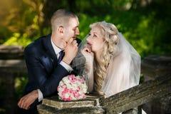 Νεόνυμφος και η νύφη κατά τη διάρκεια του περιπάτου στοκ εικόνες