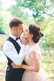 Νεόνυμφος και νύφη από κοινού αγκάλιασμα ζευγών ευτυχής εκλεκτής ποιότητας γάμος ημέρας ζευγών ιματισμού Όμορφη νύφη και κομψός ν Στοκ Φωτογραφίες