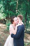Νεόνυμφος και νύφη από κοινού αγκάλιασμα ζευγών ευτυχής εκλεκτής ποιότητας γάμος ημέρας ζευγών ιματισμού Όμορφη νύφη και κομψός ν Στοκ εικόνες με δικαίωμα ελεύθερης χρήσης