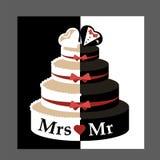 Νεόνυμφος και νύφη γαμήλιων κέικ διανυσματική απεικόνιση
