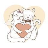 Νεόνυμφος και νύφη γατών Γαμήλια γάτα διανυσματική απεικόνιση