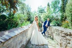 Νεόνυμφος και νύφη που έχουν τη διασκέδαση στη φύση Στοκ Εικόνα