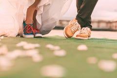 Νεόνυμφος και νύφη στα plimsolls στον τάπητα με τα πέταλα Στοκ φωτογραφία με δικαίωμα ελεύθερης χρήσης
