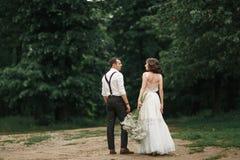 Νεόνυμφος με τη νύφη στη φύση Στοκ Εικόνα