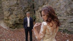 Νεόνυμφος με τη νύφη στο δασικό πάρκο Γαμήλιο ζεύγος Ευτυχής οικογένεια φιλμ μικρού μήκους