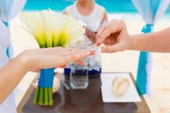 Νεόνυμφος που δίνει ένα δαχτυλίδι αρραβώνων στη νύφη του κάτω από το deco αψίδων Στοκ Φωτογραφίες