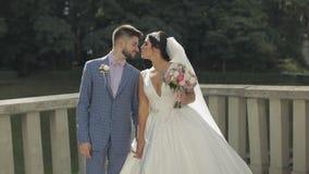 Νεόνυμφος που περπατά με τη νύφη γάμος δεσμών κοσμήματος κρυστάλλου λαιμοδετών ζευγών οικογένεια ευτυχής Άνδρας και γυναίκα ερωτε απόθεμα βίντεο