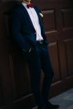 Νεόνυμφος που φορά το μπλε κοστούμι και bowtie στοκ εικόνες με δικαίωμα ελεύθερης χρήσης