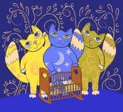 Νηνεμία τριών μεγάλη γατών νεράιδων ένα μικρό παιδί Υπόβαθρο νανουρίσματος διανυσματική απεικόνιση
