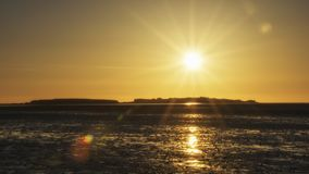 Νησί ηλιοβασιλέματος Wirral hilbre Στοκ Εικόνα