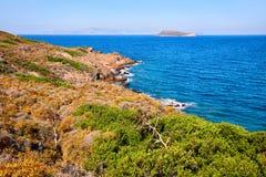Νησί, θάλασσα και απότομος βράχος λοχιών Στοκ εικόνες με δικαίωμα ελεύθερης χρήσης