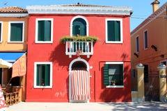 νησί Ιταλία σπιτιών burano παραδ&omicr Στοκ Εικόνα