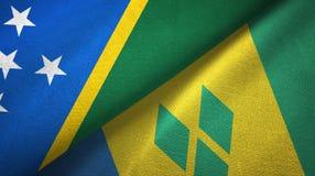 Νησί και Άγιος Βικέντιος και Γρεναδίνες δύο του Solomon υφαντικό ύφασμα σημαιών διανυσματική απεικόνιση