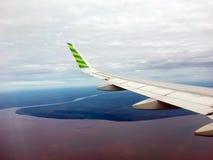 Νησί και ο ωκεανός που βλέπει από τα φτερά του αεροπλάνου στοκ εικόνα με δικαίωμα ελεύθερης χρήσης