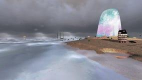 Νησί και σκάφη με τα κύματα και τα σκοτεινά σύννεφα απόθεμα βίντεο