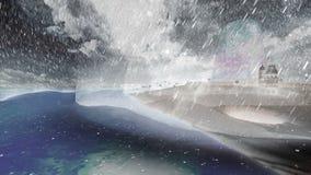 Νησί και σκάφη με το νεφελώδη συννεφιάζω ουρανό και τις οργιμένος δυνατών βροχές κυμάτων και απόθεμα βίντεο