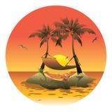 Νησί κινούμενων σχεδίων με μια αιώρα στο ηλιοβασίλεμα Απεικόνιση για μια ταξιδιωτική εταιρεία Θερινές διακοπές στη θάλασσα κείμεν ελεύθερη απεικόνιση δικαιώματος