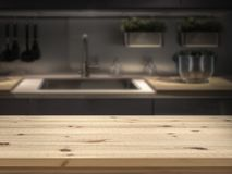Νησί κουζινών με την ξύλινη επιτραπέζια κορυφή για το montage επίδειξης προϊόντων στοκ εικόνες με δικαίωμα ελεύθερης χρήσης