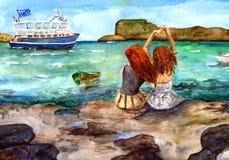 Νησί Κρήτη Ελλάδα Watercolor διανυσματική απεικόνιση