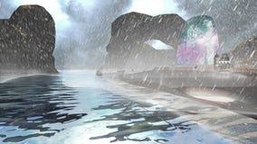 Νησί με τα βουνά και το νεφελώδη ουρανό και τις οργιμένος δυνατών βροχές κυμάτων και απόθεμα βίντεο