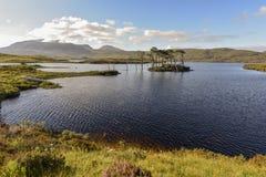 Νησί με τα δέντρα πεύκων στη λίμνη Assynt που περιβάλλεται από σειρά βουνών στις όμορφες σκωτσέζικες ορεινές περιοχές, Σκωτία, Ην στοκ φωτογραφίες