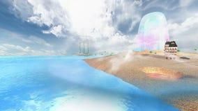 Νησί με τα κοντινά σύννεφα στη νεφελώδη ημέρα με την ήρεμη θάλασσα απόθεμα βίντεο