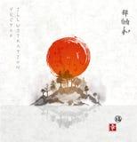 Νησί με τον κόκκινο ήλιο και δέντρα στην ομίχλη διανυσματική απεικόνιση