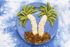 Νησί μπανανών στο πιάτο Στοκ Εικόνα