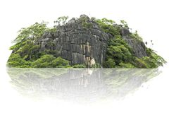 Νησί πανοράματος, λόφος, βουνό που απομονώνεται σε ένα άσπρο υπόβαθρο στοκ φωτογραφίες με δικαίωμα ελεύθερης χρήσης