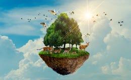 Νησί πουλιών ελαφιών τιγρών άγριας φύσης δασικών δέντρων που επιπλέει στην ημέρα ημέρας παγκόσμιας συντήρησης ημέρας παγκόσμιου π ελεύθερη απεικόνιση δικαιώματος