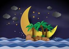 Νησί στα μεσάνυχτα με το μισό φεγγάρι ελεύθερη απεικόνιση δικαιώματος