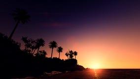 Νησί στην παραλία ηλιοβασιλέματος Στοκ Φωτογραφία