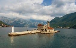 Νησί της κυρίας μας των βράχων Μαυροβούνιο Στοκ Εικόνες