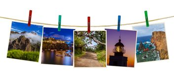 Νησί της Μαδέρας στις εικόνες της Πορτογαλίας οι φωτογραφίες μου στα clothespins Στοκ Εικόνες