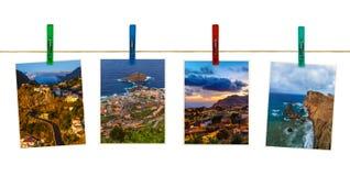 Νησί της Μαδέρας στις εικόνες & x28 της Πορτογαλίας το photos& μου x29  στα clothespins Στοκ Φωτογραφία