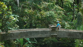 Νησί του Μπαλί Μια εξόρμηση στο νησί Το κορίτσι περπατά στη γέφυρα πετρών Το brunette με τη βοήθεια ενός ραβδιού selfie απόθεμα βίντεο