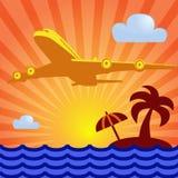 Νησί, φοίνικας, ανατολή και αεροπλάνο Στοκ φωτογραφίες με δικαίωμα ελεύθερης χρήσης