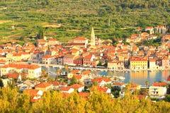 Νησί Hvar στην Κροατία, πόλη Starigrad, πανοραμική άποψη Στοκ Εικόνες