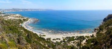 Νησί Rhodos, Ελλάδα, πανόραμα παραλιών γυμνιστών Faliraki Στοκ φωτογραφία με δικαίωμα ελεύθερης χρήσης