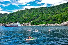 ΝΗΣΊ SAMUI, ΤΑΪΛΆΝΔΗ: Οι τουρίστες είναι κοράλλι βουτώντας στο νησί Tao που είναι ένας πολύ δημοφιλής τόπος προορισμού τουριστών  Στοκ Εικόνες