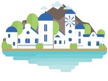 Νησί Santorini στο επίπεδο ύφος Υπόβαθρο, έμβλημα, κάρτα Στοκ Φωτογραφίες