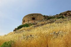 Νησί Spinalonga, Κρήτη, εγκαταλειμμένος η Ελλάδα πύργος Στοκ φωτογραφίες με δικαίωμα ελεύθερης χρήσης