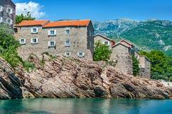 Νησί ST Stefan, Μαυροβούνιο Παλαιό χωριό Στοκ εικόνα με δικαίωμα ελεύθερης χρήσης