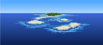 Νησιά κινούμενων σχεδίων στον ωκεανό η άποψη από την κορυφή Στοκ φωτογραφία με δικαίωμα ελεύθερης χρήσης