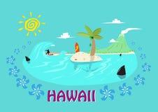 Νησιά της Χαβάης και έννοια σερφ Τέχνη συνδετήρων Editable ελεύθερη απεικόνιση δικαιώματος