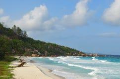 Νησιά των Σεϋχελλών, Λα Digue, λεπτοκαμωμένη παραλία Anse Στοκ Φωτογραφία