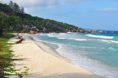 Νησιά των Σεϋχελλών, Λα Digue, λεπτοκαμωμένη παραλία Anse Στοκ εικόνα με δικαίωμα ελεύθερης χρήσης