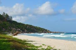 Νησιά των Σεϋχελλών, Λα Digue, λεπτοκαμωμένη παραλία Anse Στοκ Εικόνες