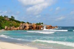 Νησιά των Σεϋχελλών, Λα Digue, παραλία Anse Cocos Στοκ Εικόνες